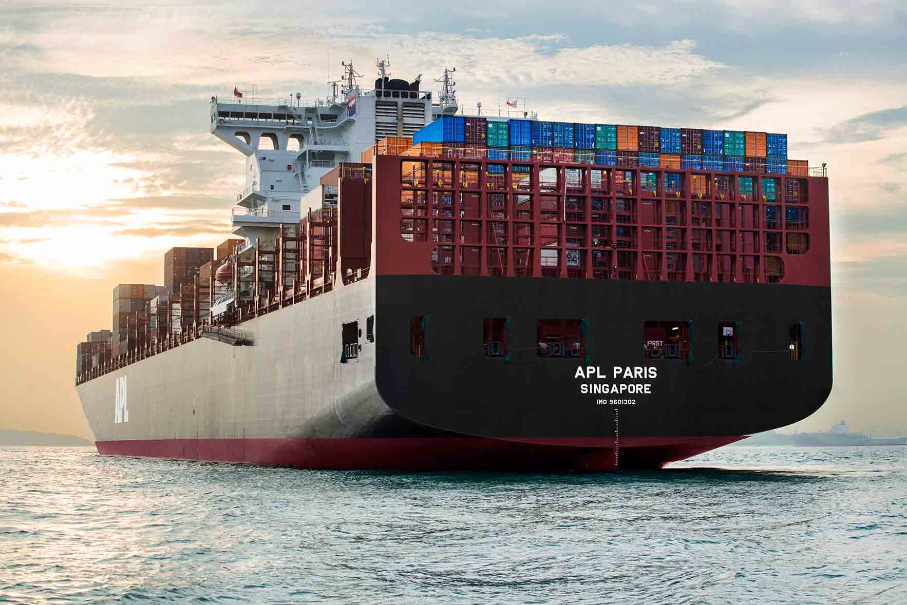APL Paris - 10,000 TEU containership at sea, sunset