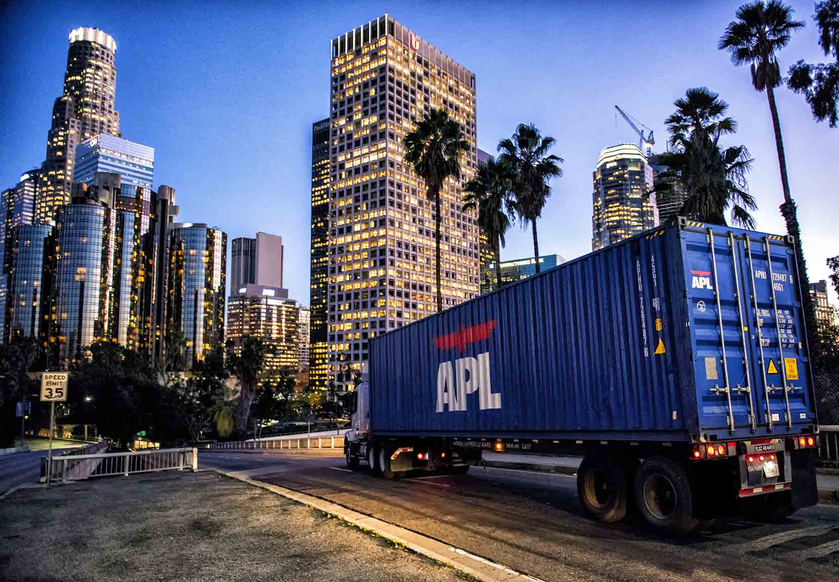 Standard Container - APL container being transported to Downtown Los Angeles