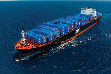 APL Boston - 9,000 TEU containership laden with APL containers